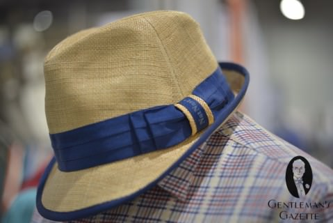 Straw Hat with Blue Ribbon & Piping by Nat Nast