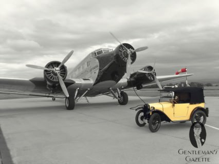 Local Manufacturing History Reunited on the airfield: Ju 52 & a Dixi car (Austin 7 licence)