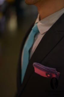 Tiny Collar, Textured Teal Tie and Purplish Pink Pocket Square
