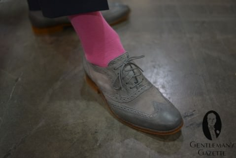 Tone in Tone Full Brogue in Grey with Pink Socks