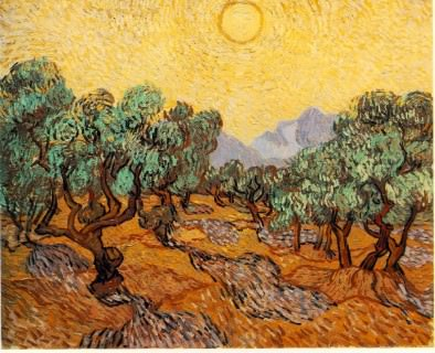Vincent van Gogh - Olive Trees with Yellow Sky & Sun
