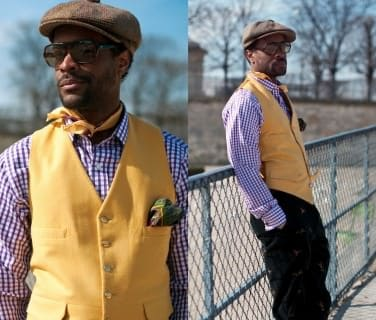 Karl-Edwin Guerre in Purple Checked Shirt with Yellow Doeskin vVest, Silk Paisley Neckkerchief & Tweed Hat by Vanesse Jackman