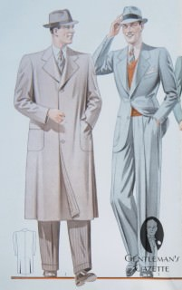 Leightweight, Canvas Topcoat with Wide Back & Classic 1938 Lounge Suit