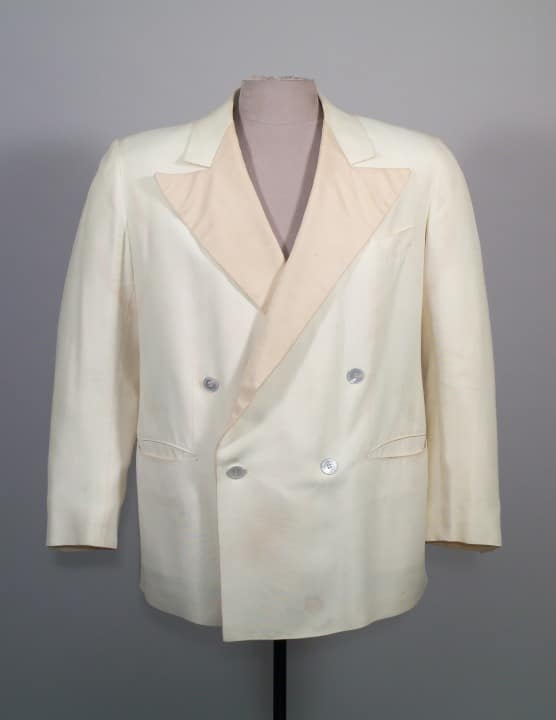 4x1 Double-breasted, white linen dinner jacket by Stephen Brod March 15, 1947