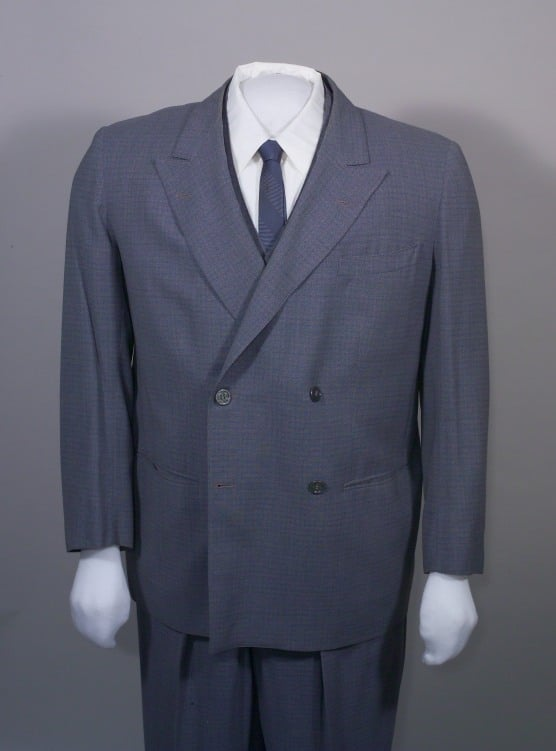 4x2 Double-breasted, blue and gray micro check suit, Brod 1958