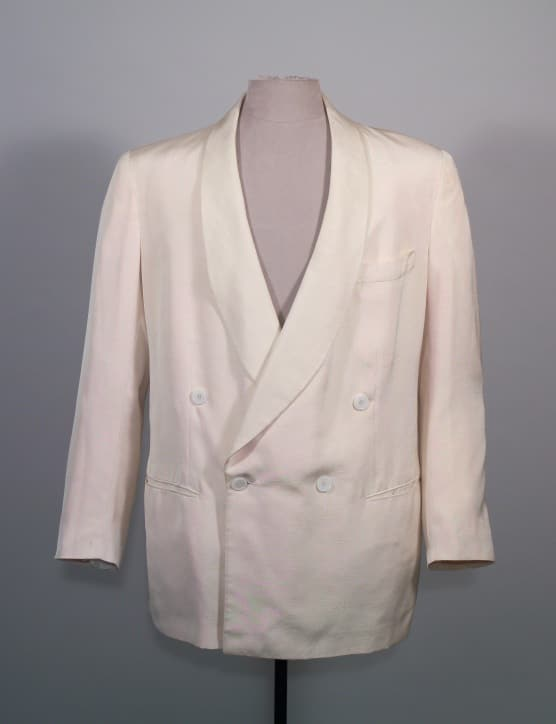 Double-breasted, cream linen dinner jacket, Brod 1953
