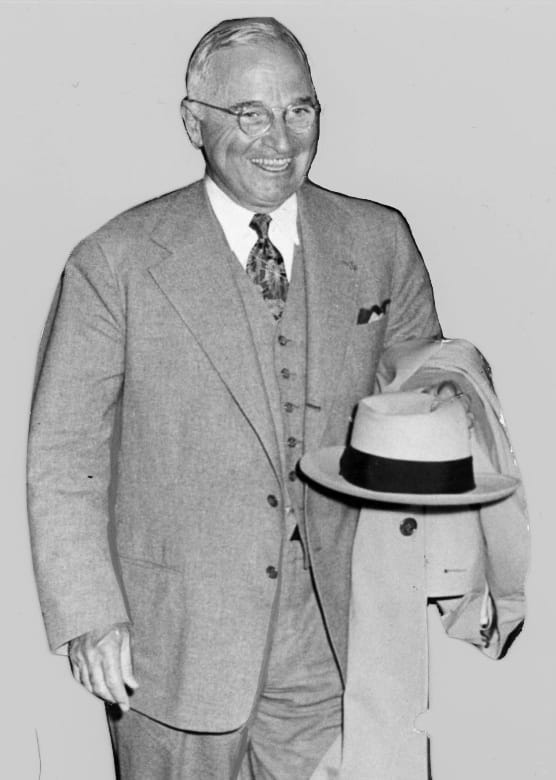 President Truman wearing the gray suit, May 1950