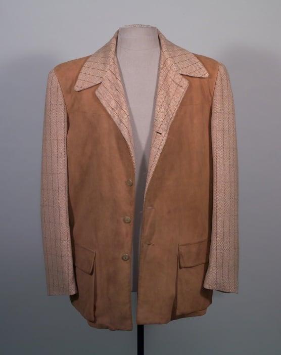Single-breasted, leather and tan herringbone western style sports jacket.California Sportswear Co, LA 1950