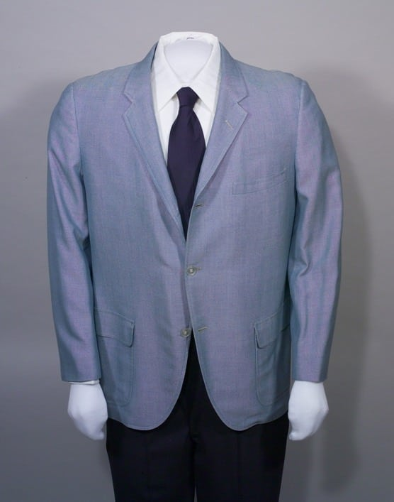 Single-breasted, light blue cotton sports coat, Clipper Craft ca 1965