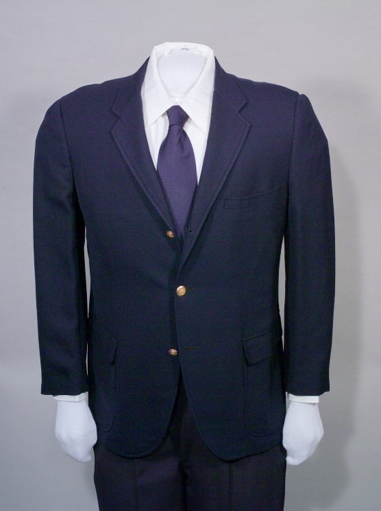 Single-breasted, navy blue blazer, gold buttons with presidential seal, ca. 1970