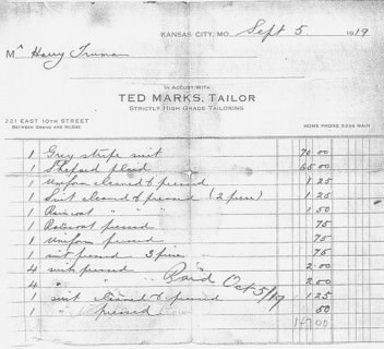 Tailor's Receipt from 1919