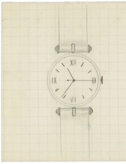 The first drawing of the PA 49 Pierre Arpels watch