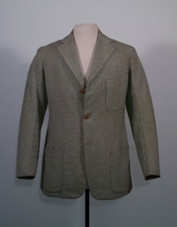 Truman's Houndstooth Wedding Suit with Patch Pockets & Brown Buttons