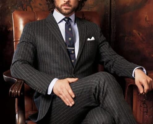 Chalk Stripe Suit with Gapping Collar, Club Tie & Argyle Check Socks