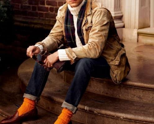 Cordovan Tassel Loafers & Orange Socks