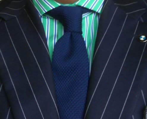 Green Striped Shirt with Business Ensemble