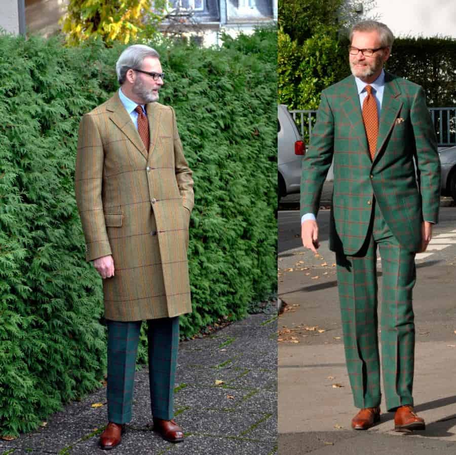 Green Windopane suit with madders silk tie, yellow pocket square and light blue shirt