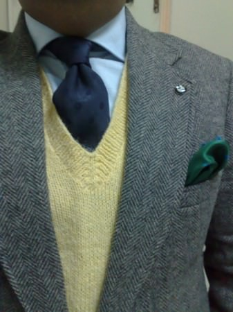 Grey, Blue & Yellow with Green Pocket Square