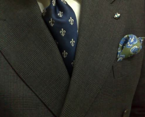 Grey Glen Plaid Suit with Green Pocket Squares