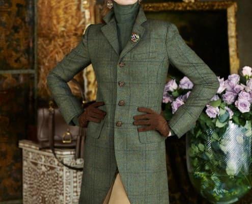 Interesting Olive Green Windowpane Overcoat