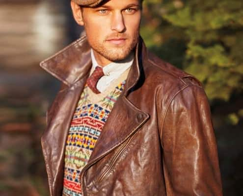 Leather Jacket with colorful sweater & Tweed