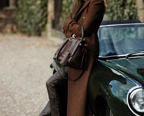 Long Brown Overcoat with Jaguar E-Type