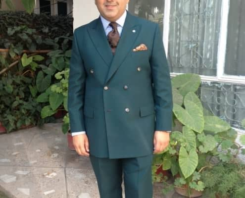 Plain Green Suit wit Brown Buttonholes