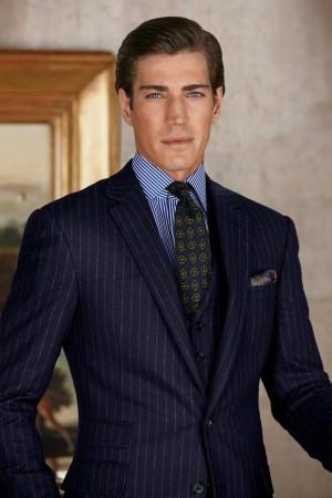 RLPL Chalk Stripe Suit with Stripes Shirt & Navy Tie
