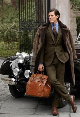 Ralph Lauren Shearling Overcoat & Olive Green Windowpane Suit