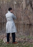 Trench Coat with High Collar, Deep Yoke Back, Belt with D Rings & Wedged Back Vent