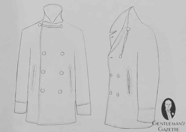 British Pea Coat Anatomy with Cordage & Buttons