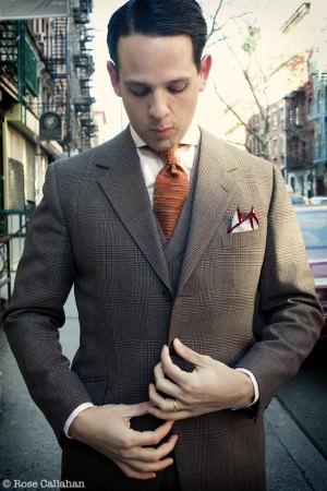 Brown Glen Urquhart 3 Piece Suit wth Salmon Shirt & Orange Knit Tie