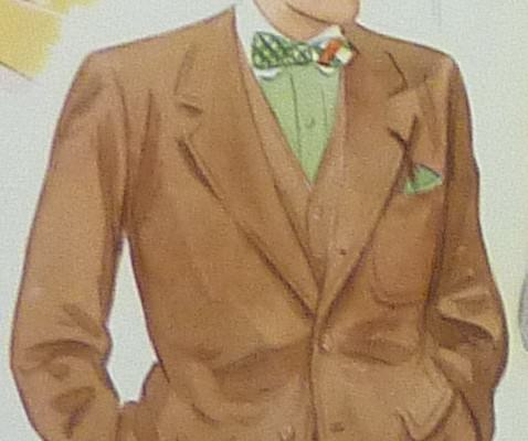 Brown Suit, Pale Green Winchester Shirt & Madras Bow Tie