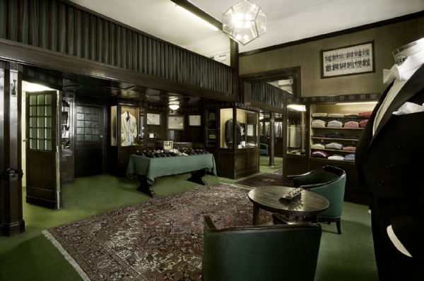 Dark Wood, Green Carpet & Persian Rug Creating the Look of a Belle Epoque Tailor Shop in London