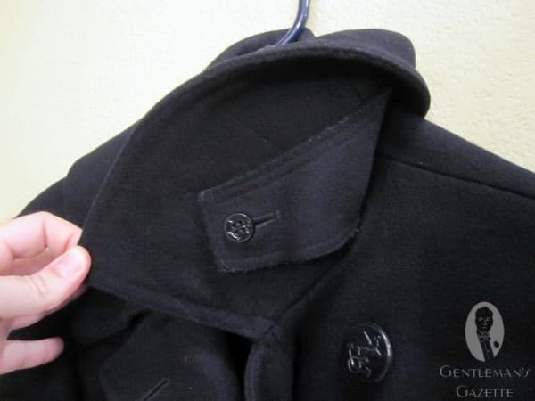 Storm Flap Underneath Collar of WWII Peacoat