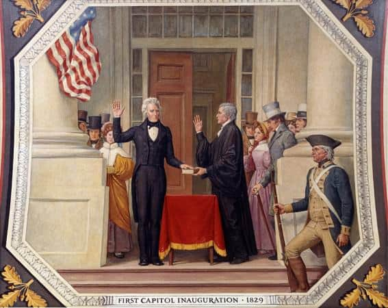 Andrew Jackson at the first capitol inauguration in 1829 with tailcoat, high cut waistcoat & black bow tie