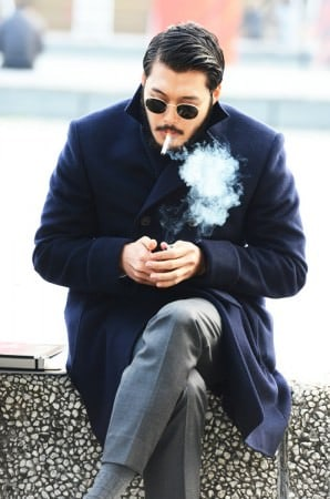 Blue Overcoat & Grey Pants, Socks & Smoke