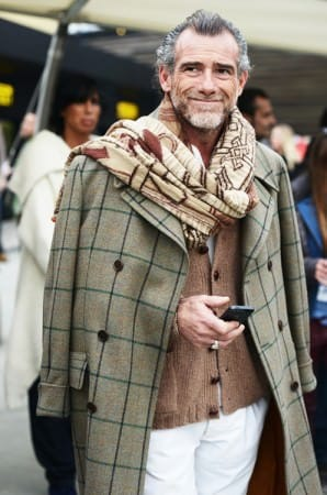 Cardigan with Windowpane Ulster, volumious scarf & one of a kind hair style