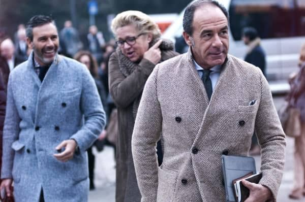 Double breasted overcoats in light gray & brown without gloves or scarf