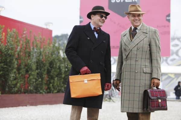 Double breasted overcoats with attache case & felt hats