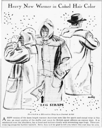 Duffle Coat in Milwaukee Journal December 1941