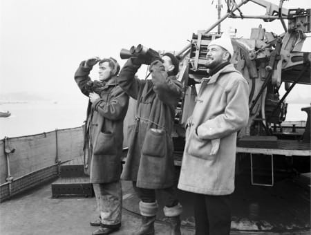 Duffle coats on 7 March 1942 abord HMS ATHERSTONE off Plymouth