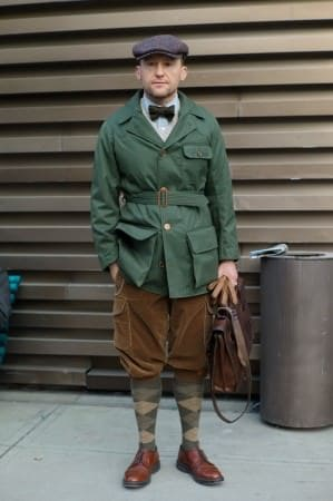 Forest Green Coat, Brown Corduroy Breeks, Bow Tie, Argyle Socks & Cap