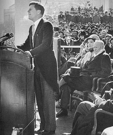 John F. Kennedy in morning dress delivering his inaugural address, January 20, 1961