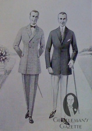 Men's Clothing in the 1920's frock coat, slim shoulders & narrow trousers