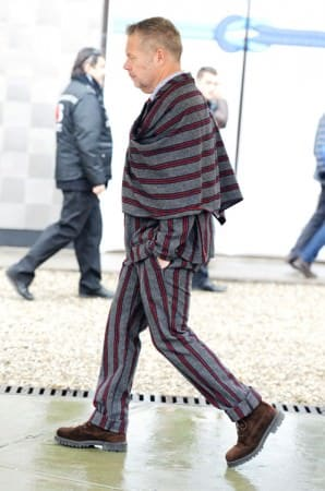 Michael Macko in Matching Grey & Red Stripes
