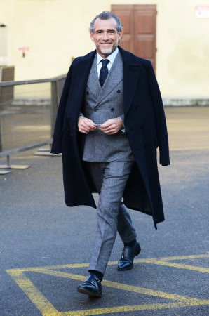 Mid Gray Flannel Suit with black double monk shoes & navy overcoat