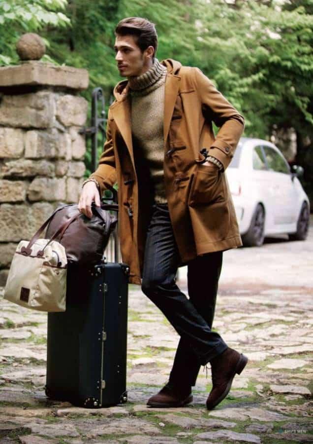 Modern day duffle coat in camel
