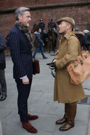 Navy chalk stripe suit with red socks & brown suede captoe oxfords