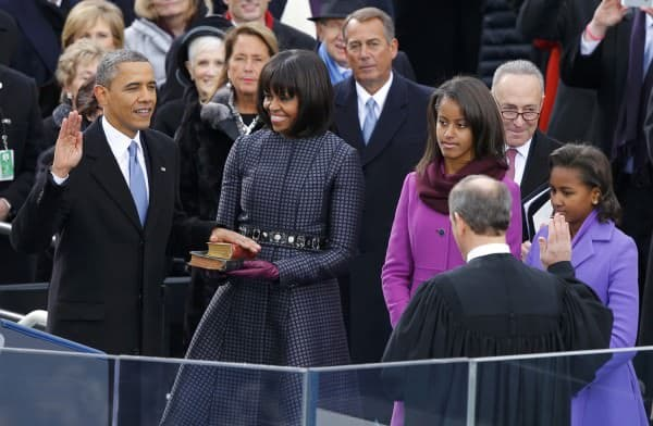U.S. Supreme Court Chief Justice John Roberts administers the oath of office to U.S. President Barack Obama during ceremonies in Washington